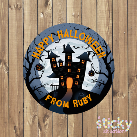 Personalised Halloween Stickers - Haunted House Design